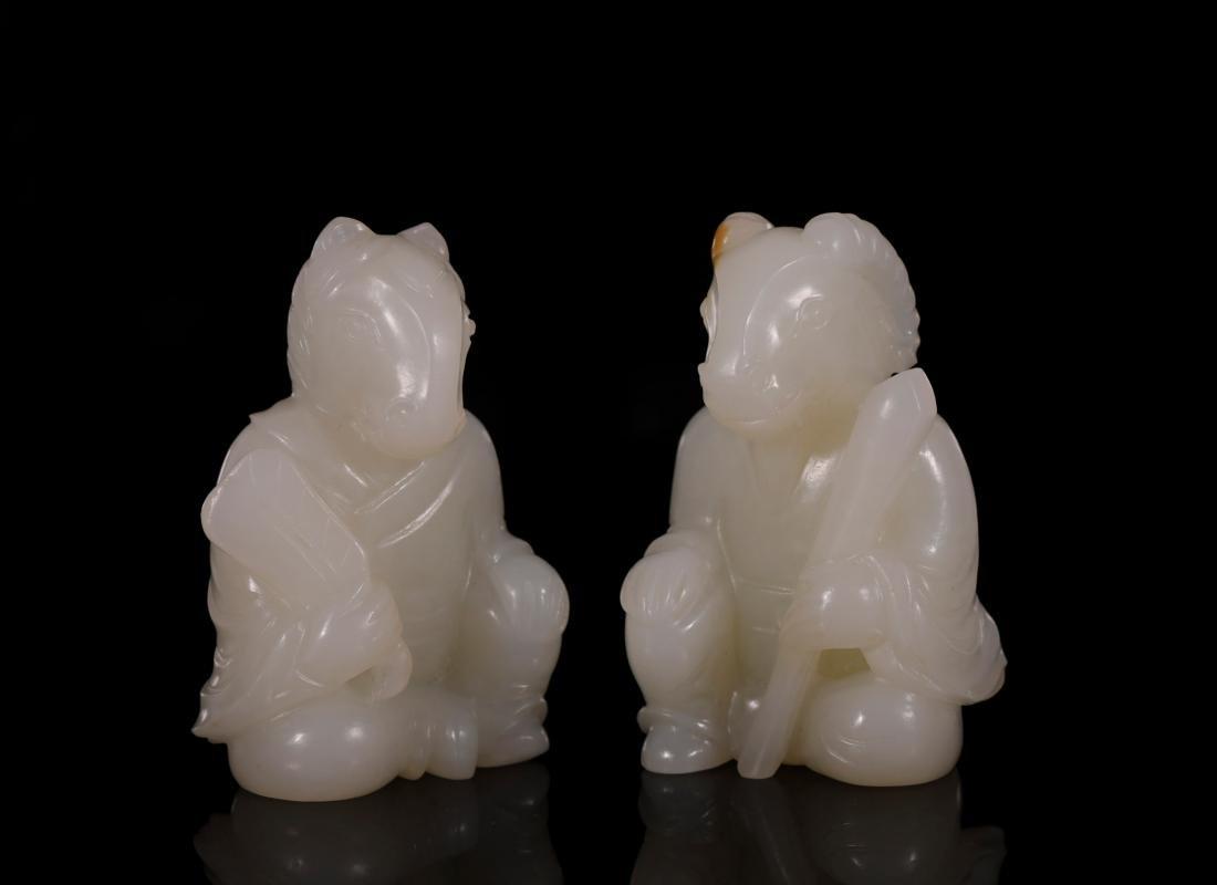 "Qing Dynasty - Set of ""Hetian"" Jade 12 Chinese Zodiacs - 6"