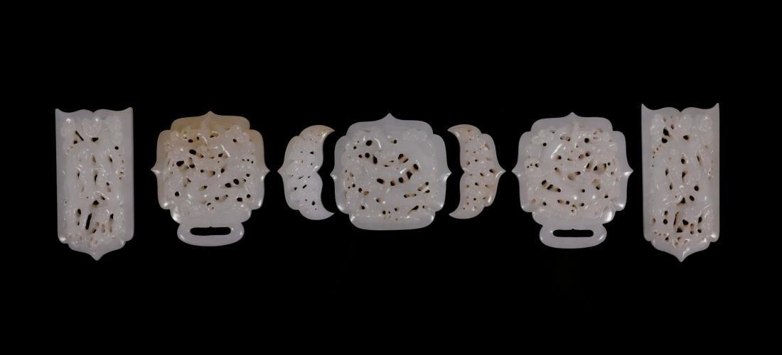 "Ming Dynasty - ""Hetian"" Jade Waist Belt With Dragon - 2"