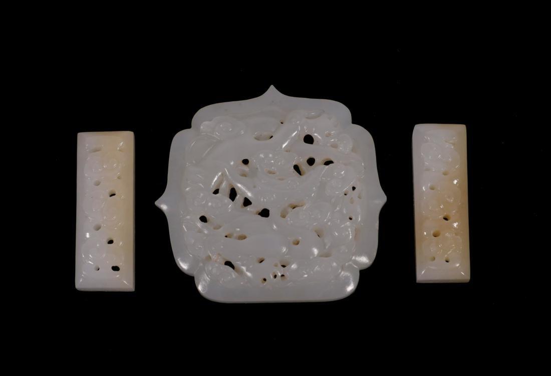 "Ming Dynasty - ""Hetian"" Jade Waist Belt With Dragon - 3"