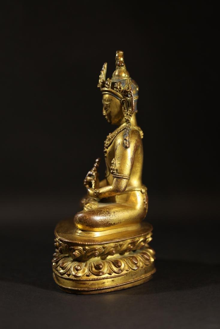 Ming Dynasty - Gilted Buddha Statue - 4