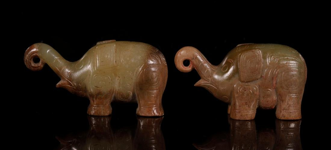 Shang Dynasty - Pair of Jade Elephant - 2