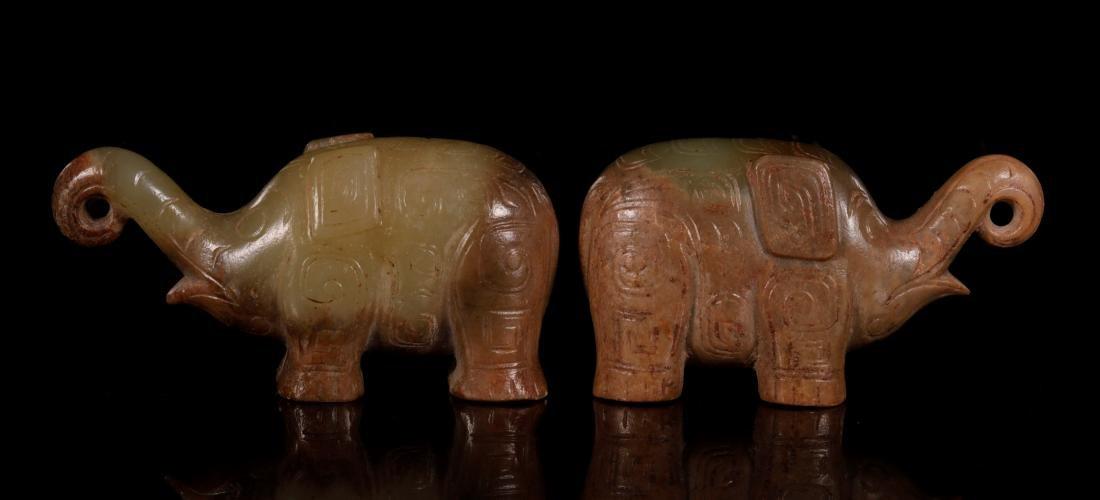 Shang Dynasty - Pair of Jade Elephant - 3