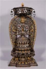 Liao Dynasty-Gold on Silver Guan Yin Buddha Statue