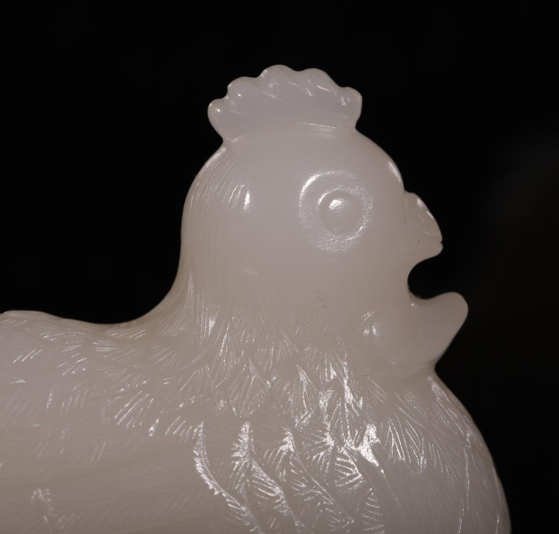 """Qing Dynasty-""""Hetian"""" Jade Chicken Shapped Decoration - 7"""