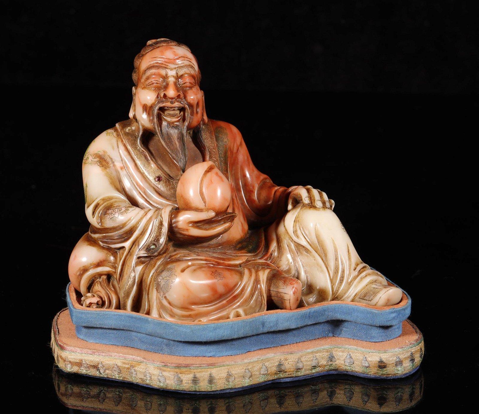 Qing Dynasty - Shoushan Stone Buddha Statue