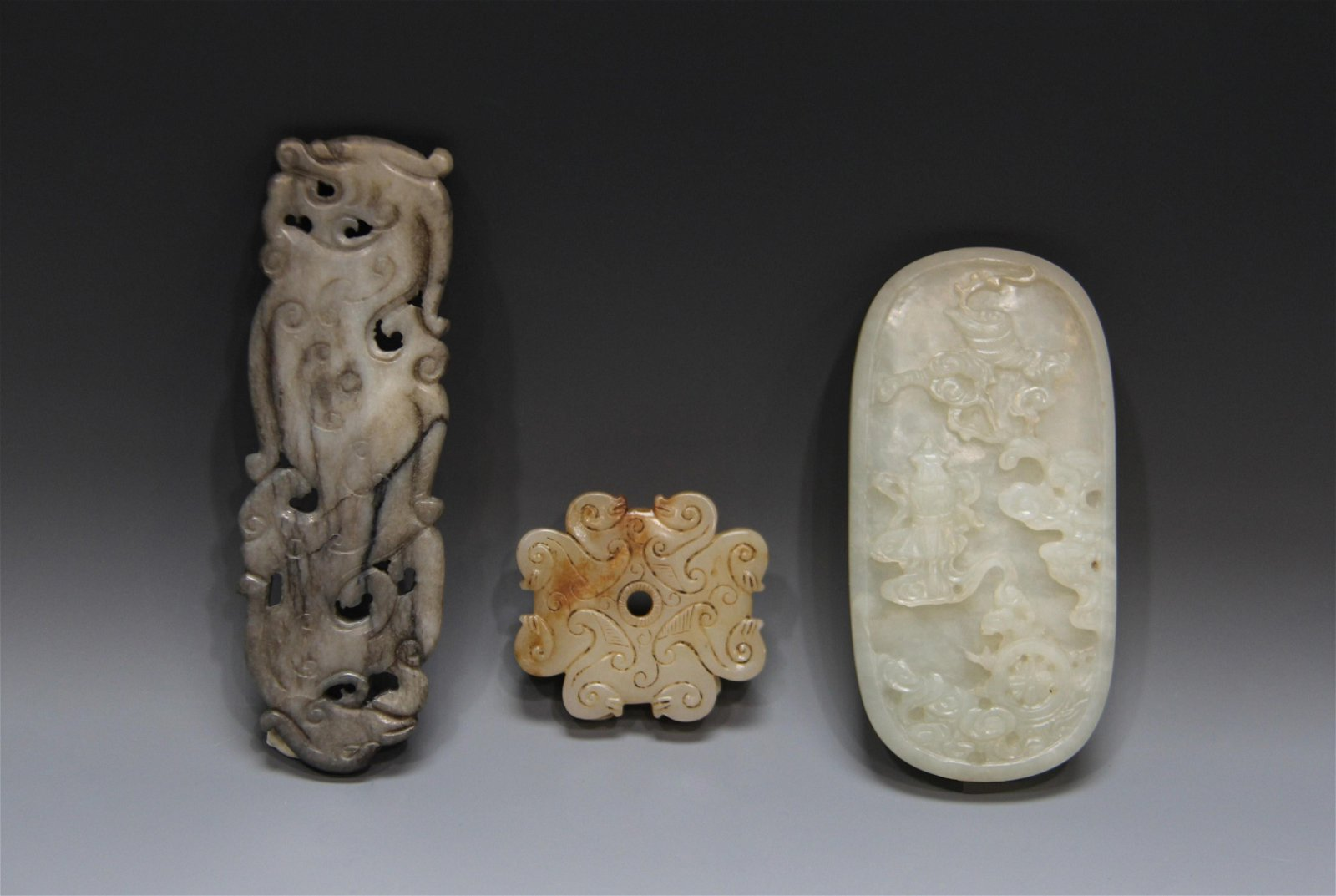 Qing Dynasty - Three Carved Jade Pendant