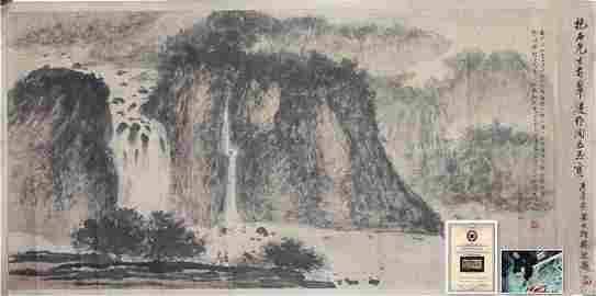 """Fu Baoshi"" Mountain and Waterfall Painting"