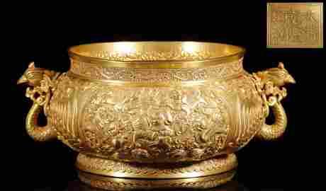 "Qing ""Qianlong"" Emperor Pure Gold Lion Pattern Censer"