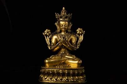 Qing Dynasty - Gilt Buddha Statue
