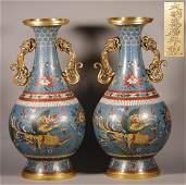 "Ming ""Wangli"" Era-Pair of Cloisonné Vase"