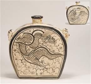 Yuan Dynasty - Cizhou Ware Dragon Pattern Jar