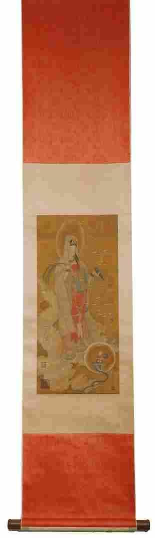"Ming Dynasty - ""Wu Bin"" Avalokitesvara Painting"