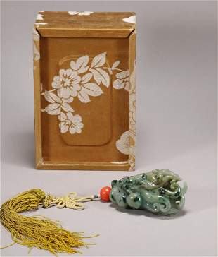 Qing Dynasty - Jadeite Buddha Hand Pendant