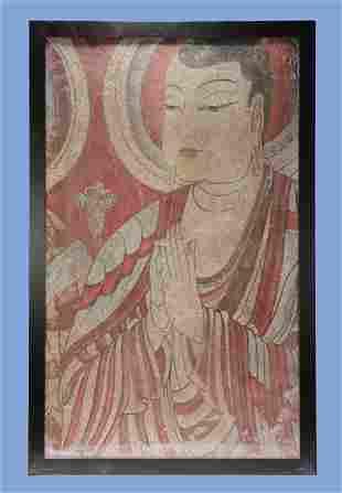 Tang Dynasty - Colored Gautama Buddha Wall Painting