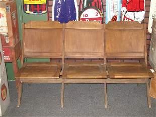THREE SEAT FOLDING WOOD BENCH