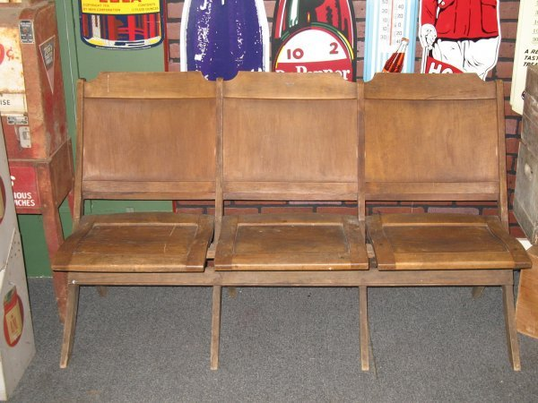 13: THREE SEAT FOLDING WOOD BENCH