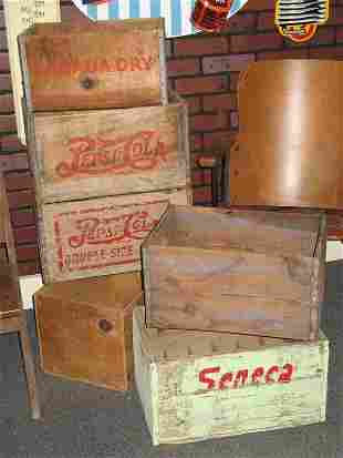 PEPSI WOODEN SODA POP CRATES AND MORE