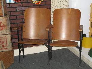 TWO SECTION WOOD THEATRE FOLDING SEAT
