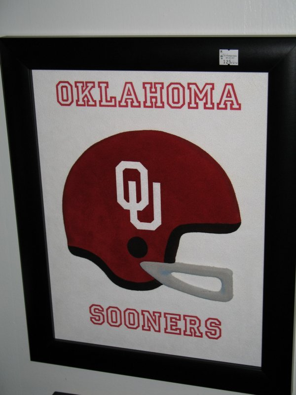 70: CARL QUEEN 3D SUEDE LEATHER ART OKLAHOMA SOONERS