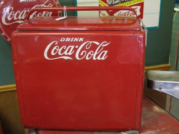 435: 1950s COCA-COLA CAVALIER PICNIC COOLER ICE CHEST - 5