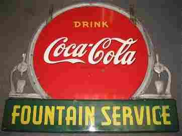 506: RARE 1930s COCA-COLA FOUNTAIN SERVICE SIGN