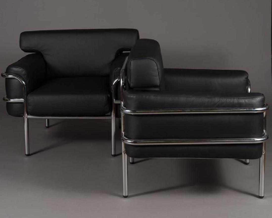 pair of italian chrome le corbusier chairs