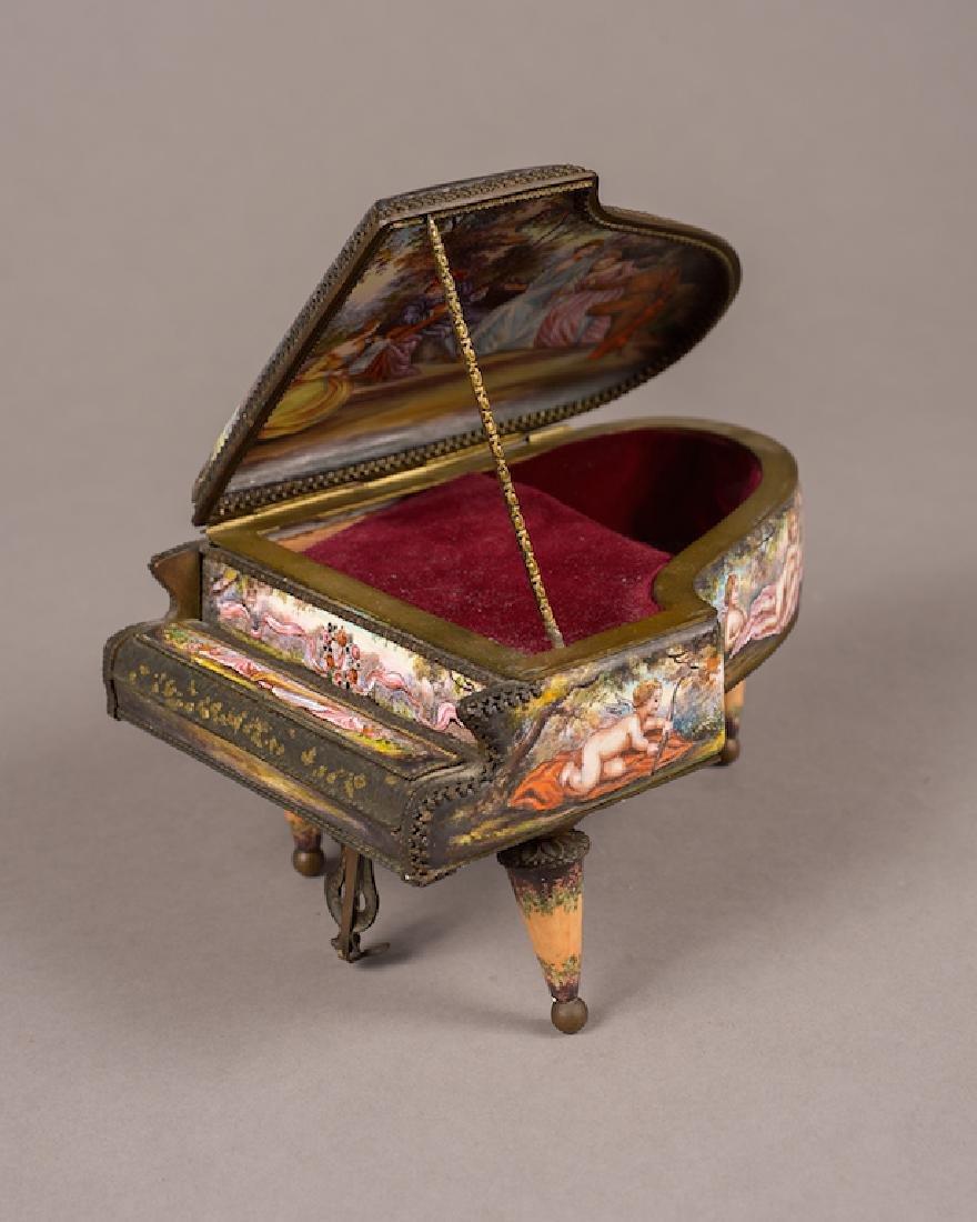 Viennese Enamel Piano Shape Music Box
