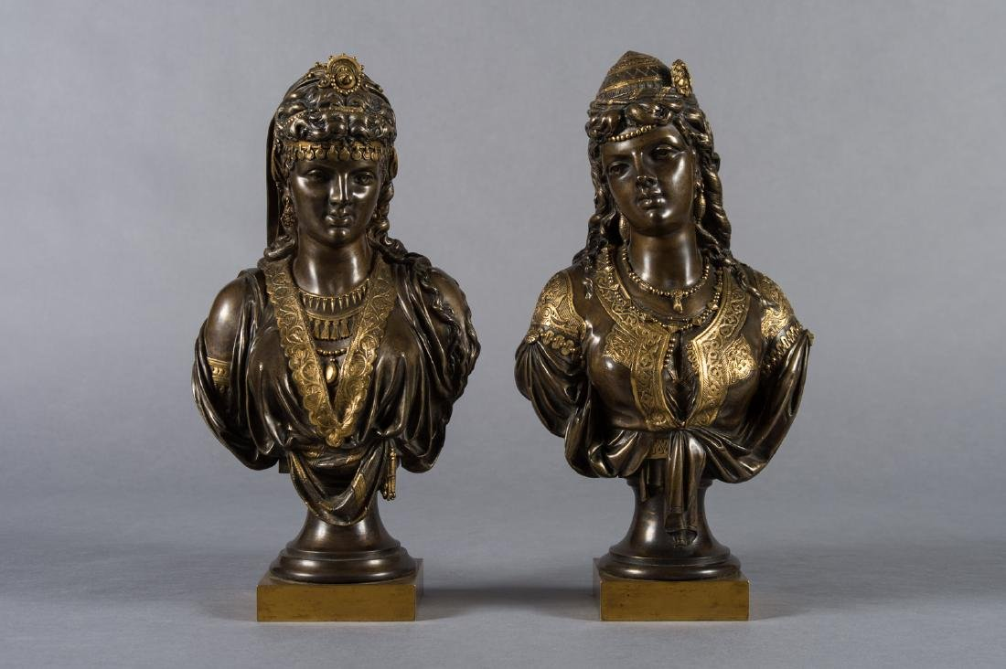 Pair of French Orientalist Busts Attr to Joseph Codier