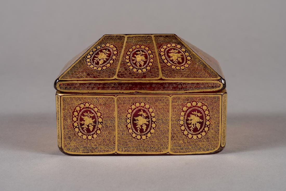 Bohemian Cranberry Red Gold Decorated Glass Box