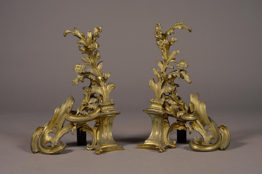 Pair Of Large 19Th C. French Bronze Chenets