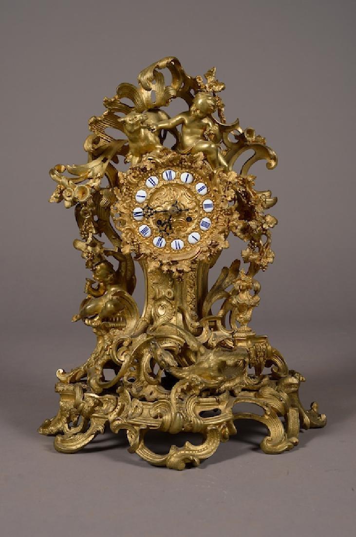 French Napoleon Iii Gilt Bronze Mantel Clock