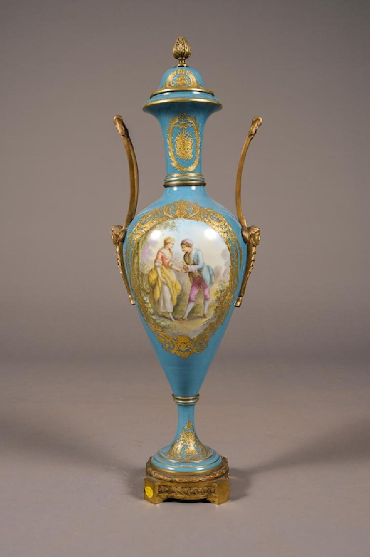 19Th C. French Sevres Style Turquoise Vase