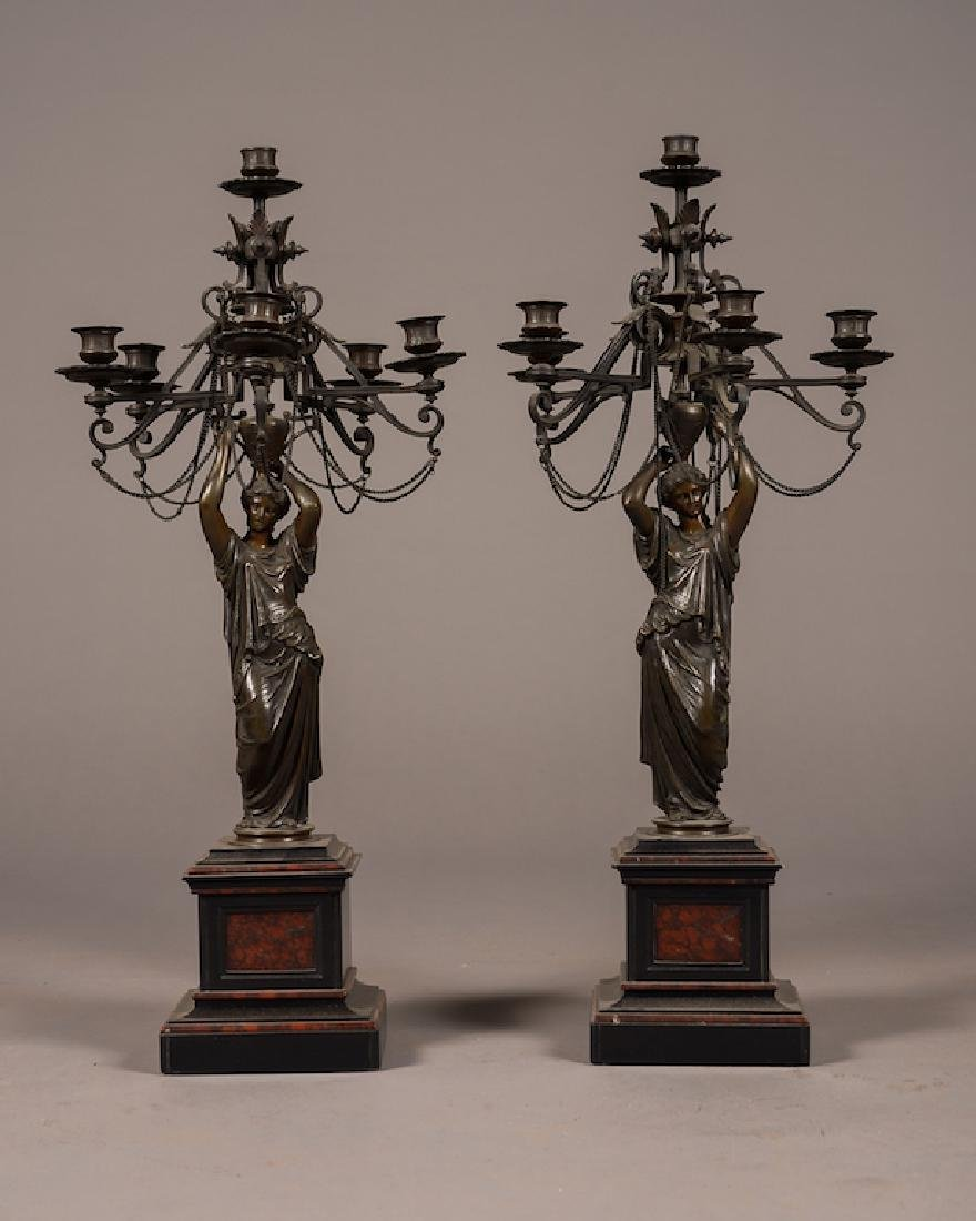 19Th C. French Bronze Figural Candelabras
