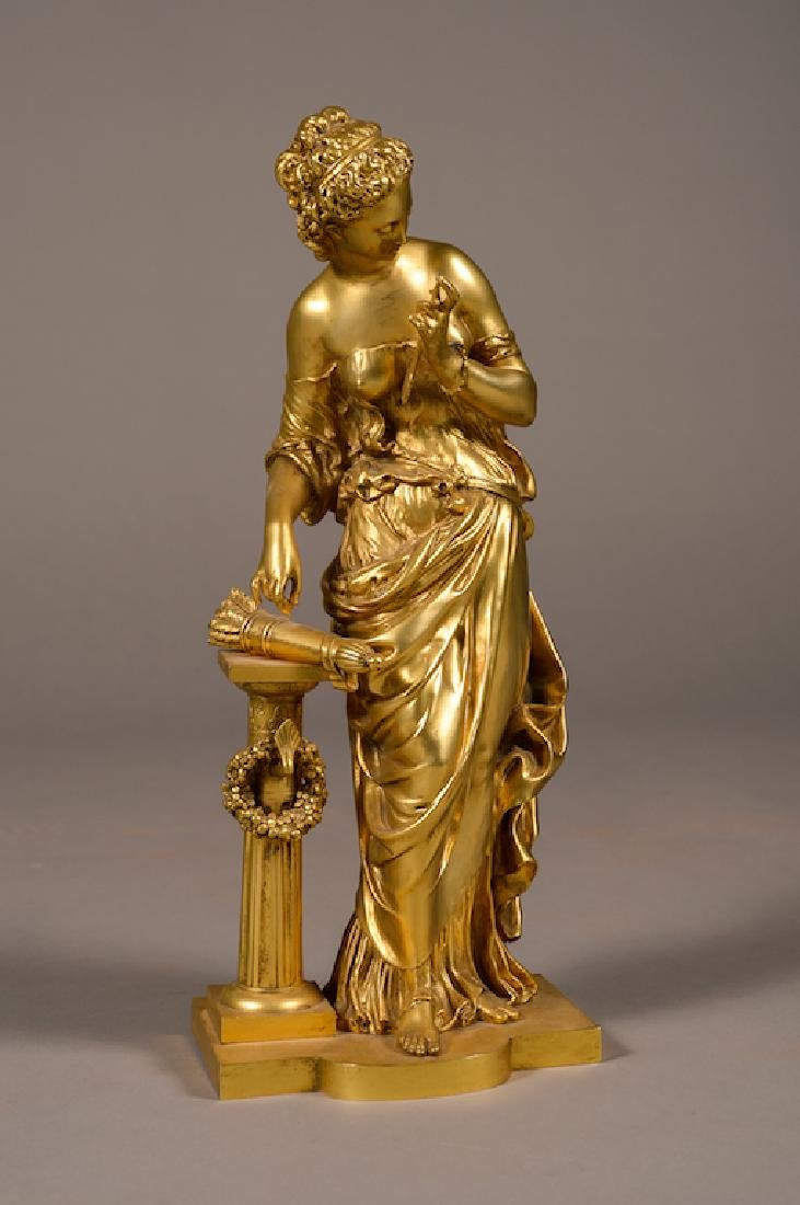 French Bronze Figure Of A Lady After M. Moreau
