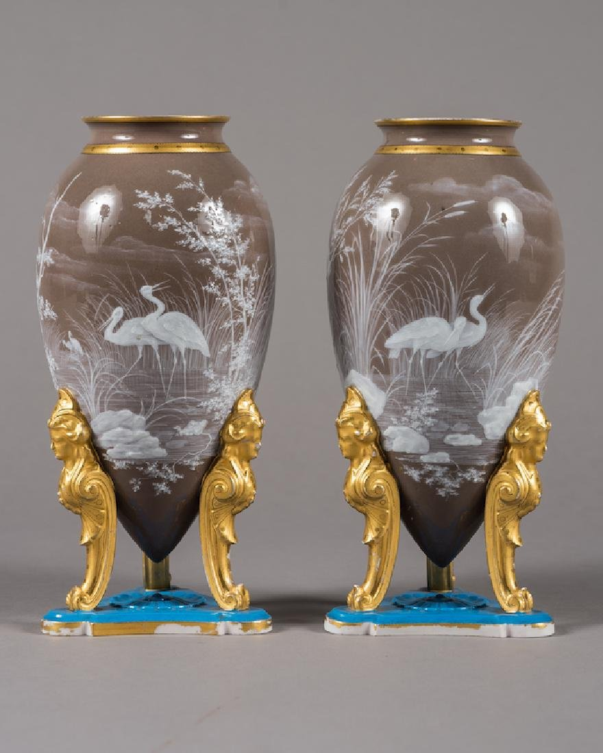 Pair Of French Pate-Sur-Pate Ovi Form Vases
