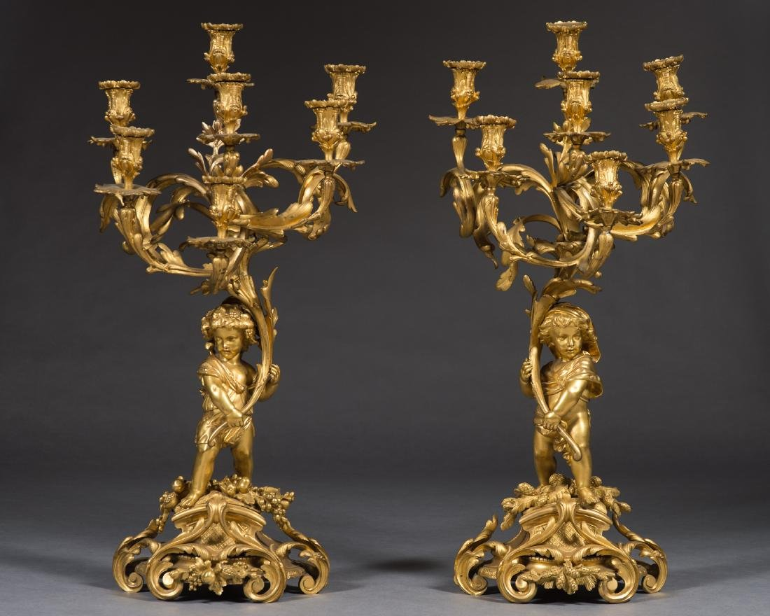 Pair Of Large 19Th C. French Candelabras By Victor