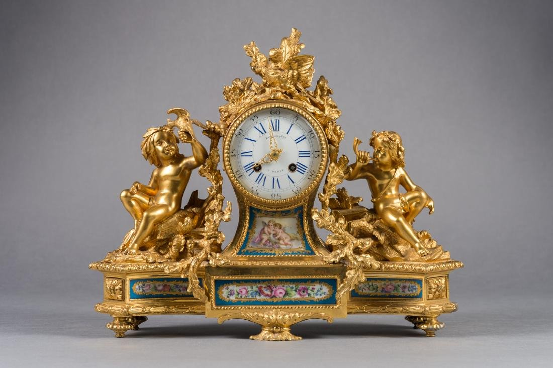 French Ormolu & Sevres Porcelain Mantel Clock
