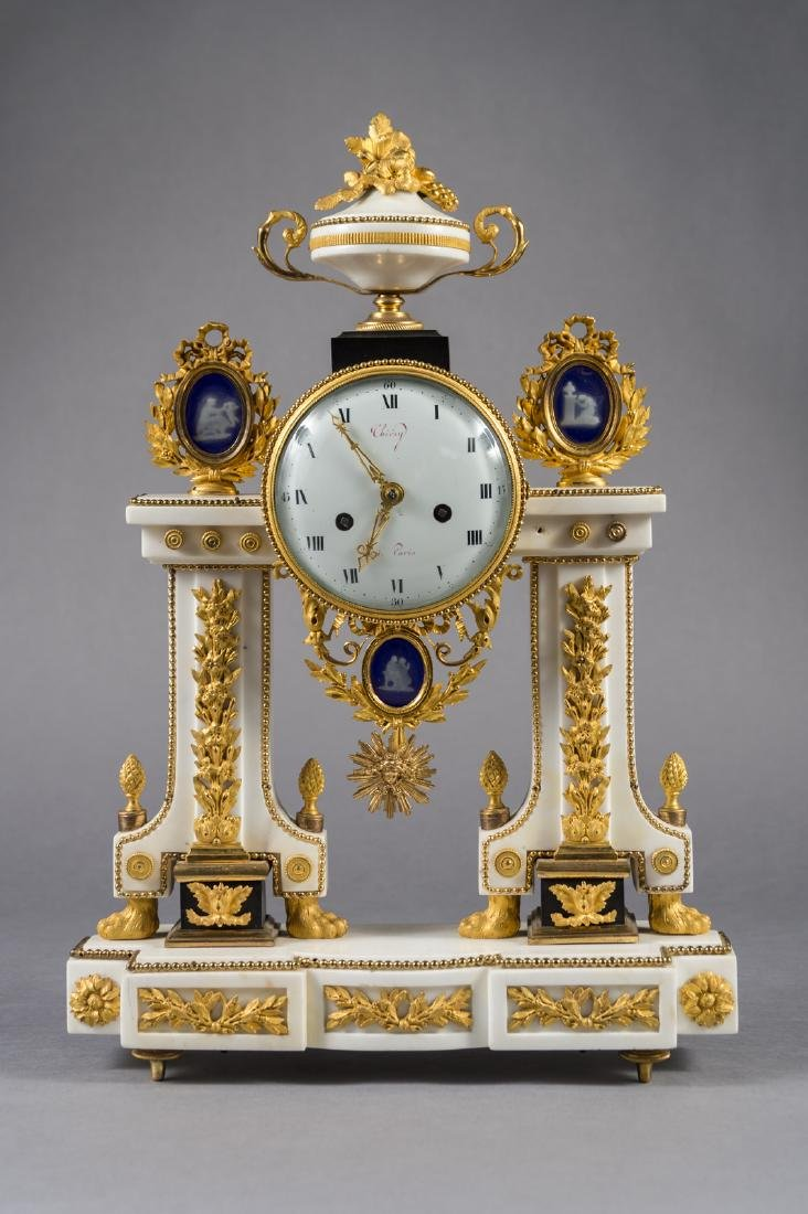 French Bronze, Marble Jasperware Clock By Thiery, Paris