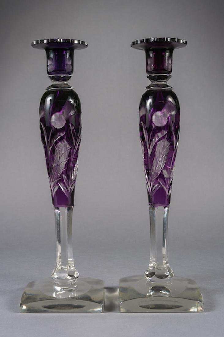 Steuben Amethyst Thistle Pattern Candle Holders
