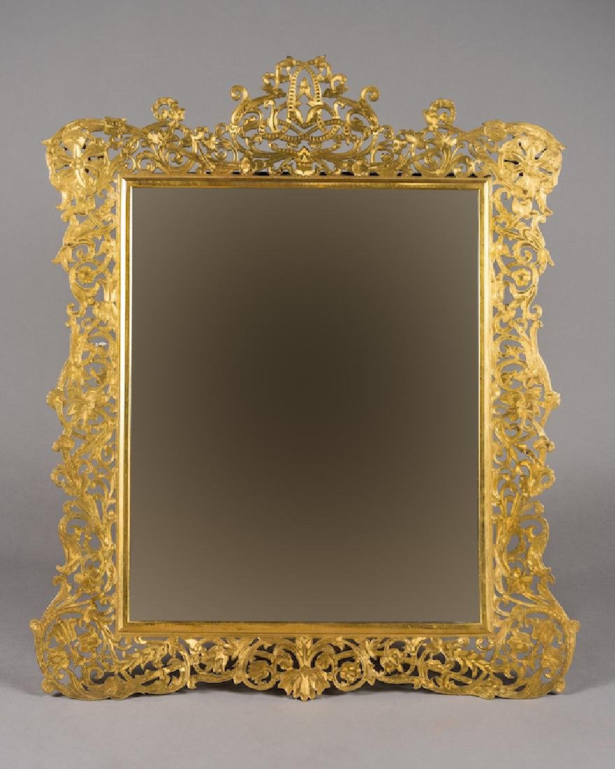 Large Art Nouveau Gilt Bronze Table Mirror