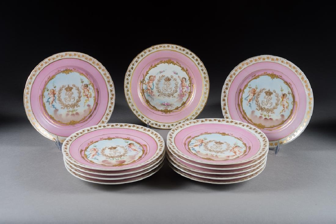 Twelve Sevres Painted & Jeweled Plates
