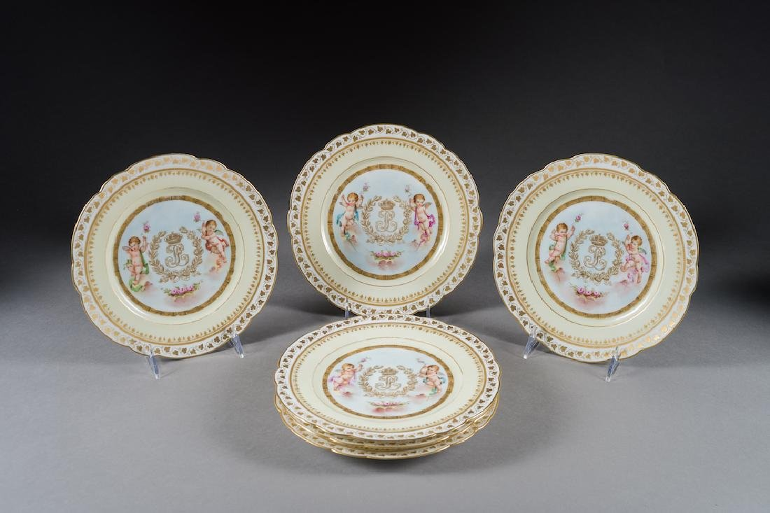 6 Sevres Painted & Jeweled Plates