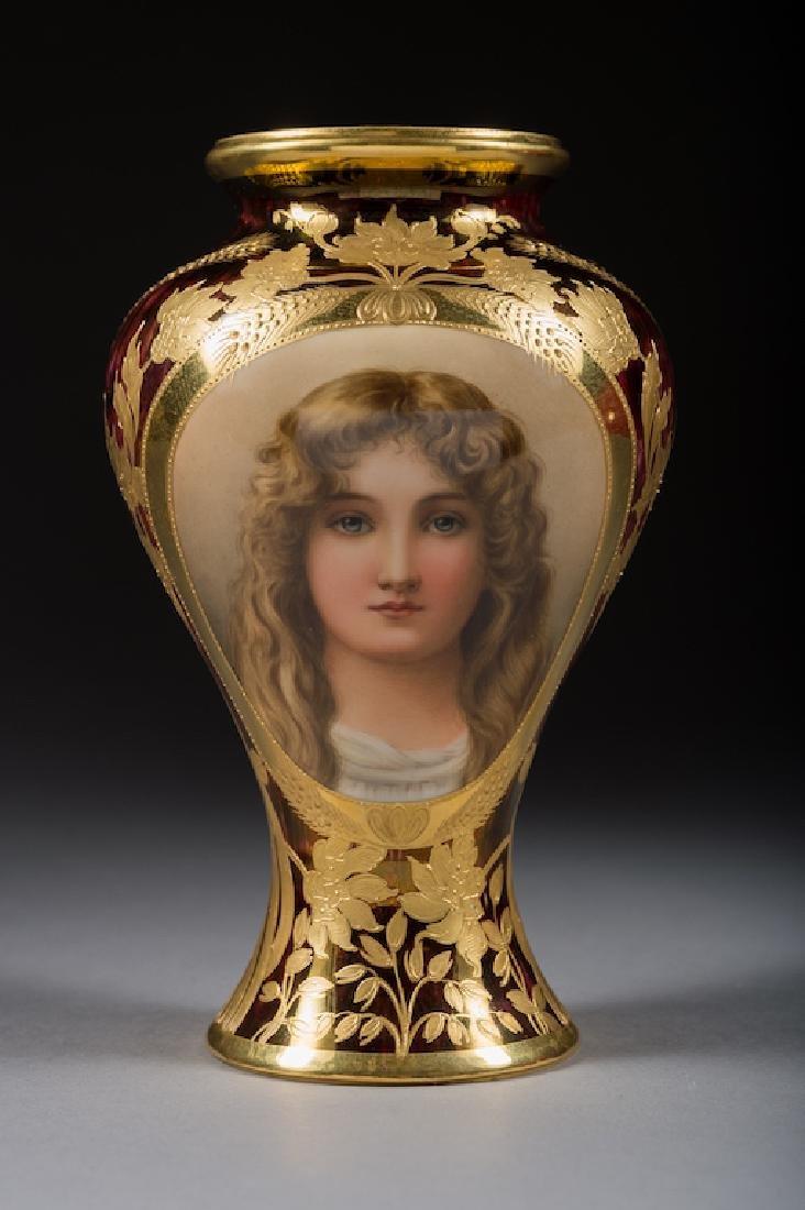 Austrian Royal Vienna Iridescent Portrait Vase
