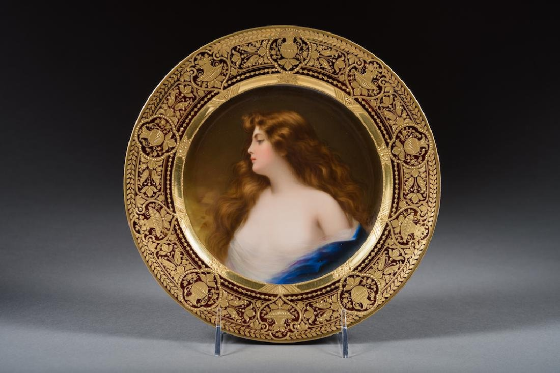 Royal Vienna Iridescent Portrait Plate Signed Wagner