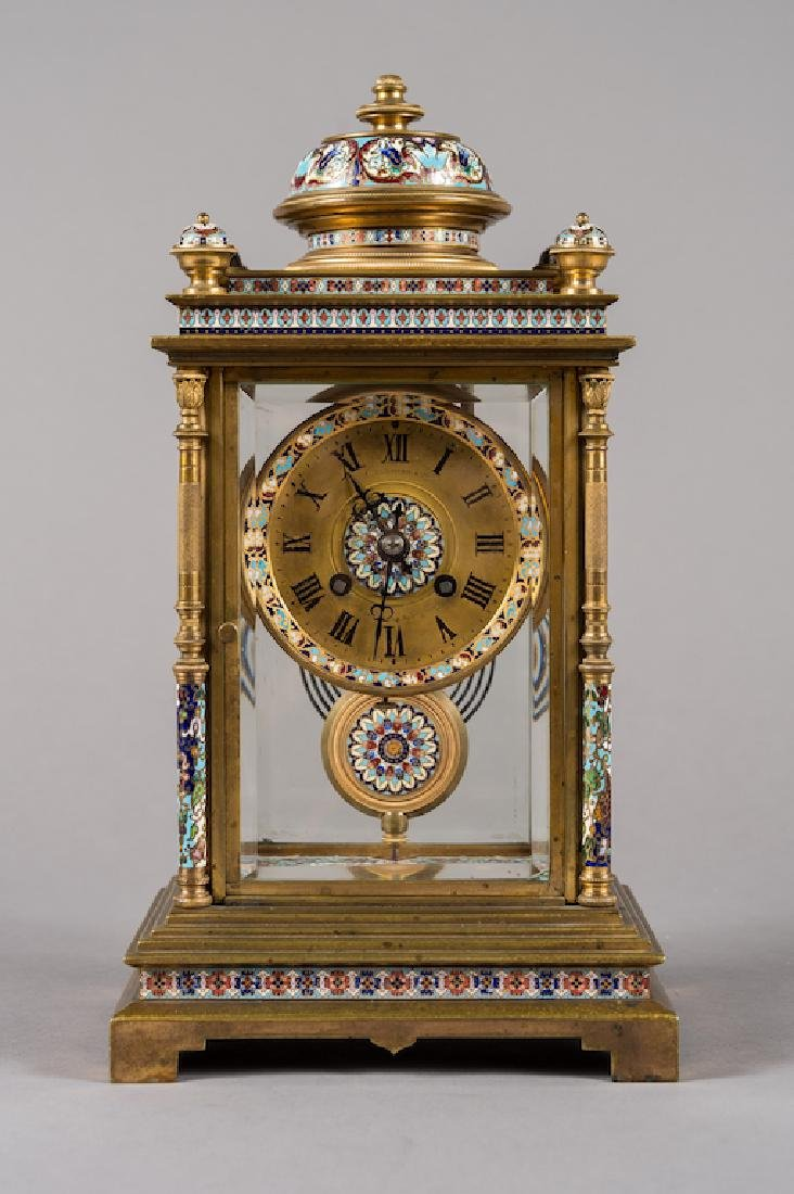 French Bronze Champlevé Enamel Clock Regulator