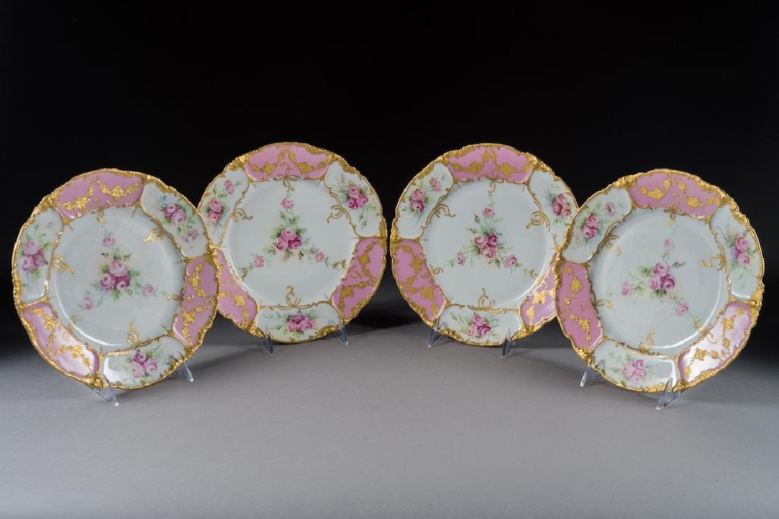 (4) Attractive Antique Limoges Painted Plates