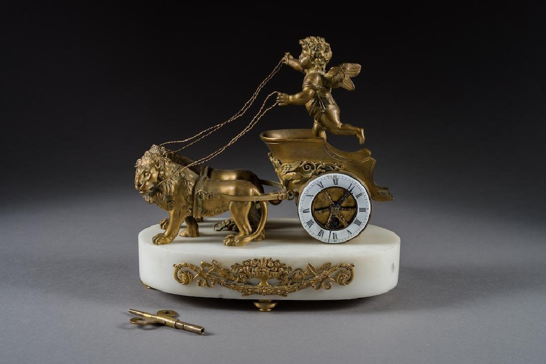 French Antique Bronze & Marble Lion Clock