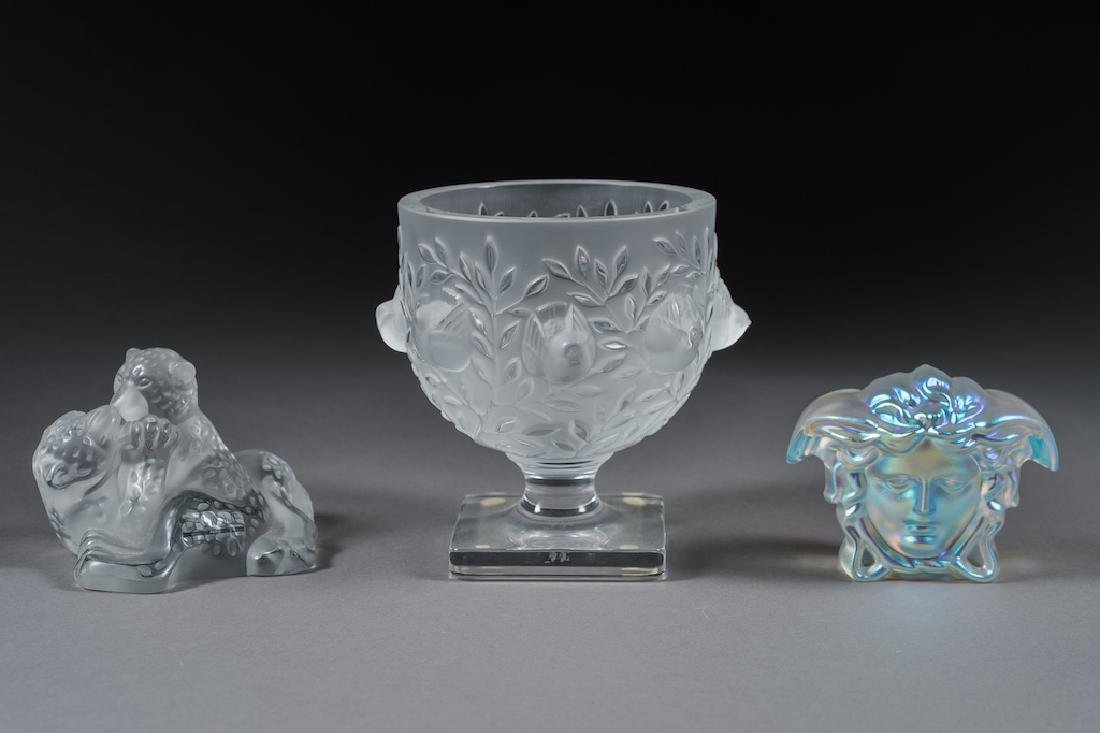 Three Glass Articles Lalique & Versace