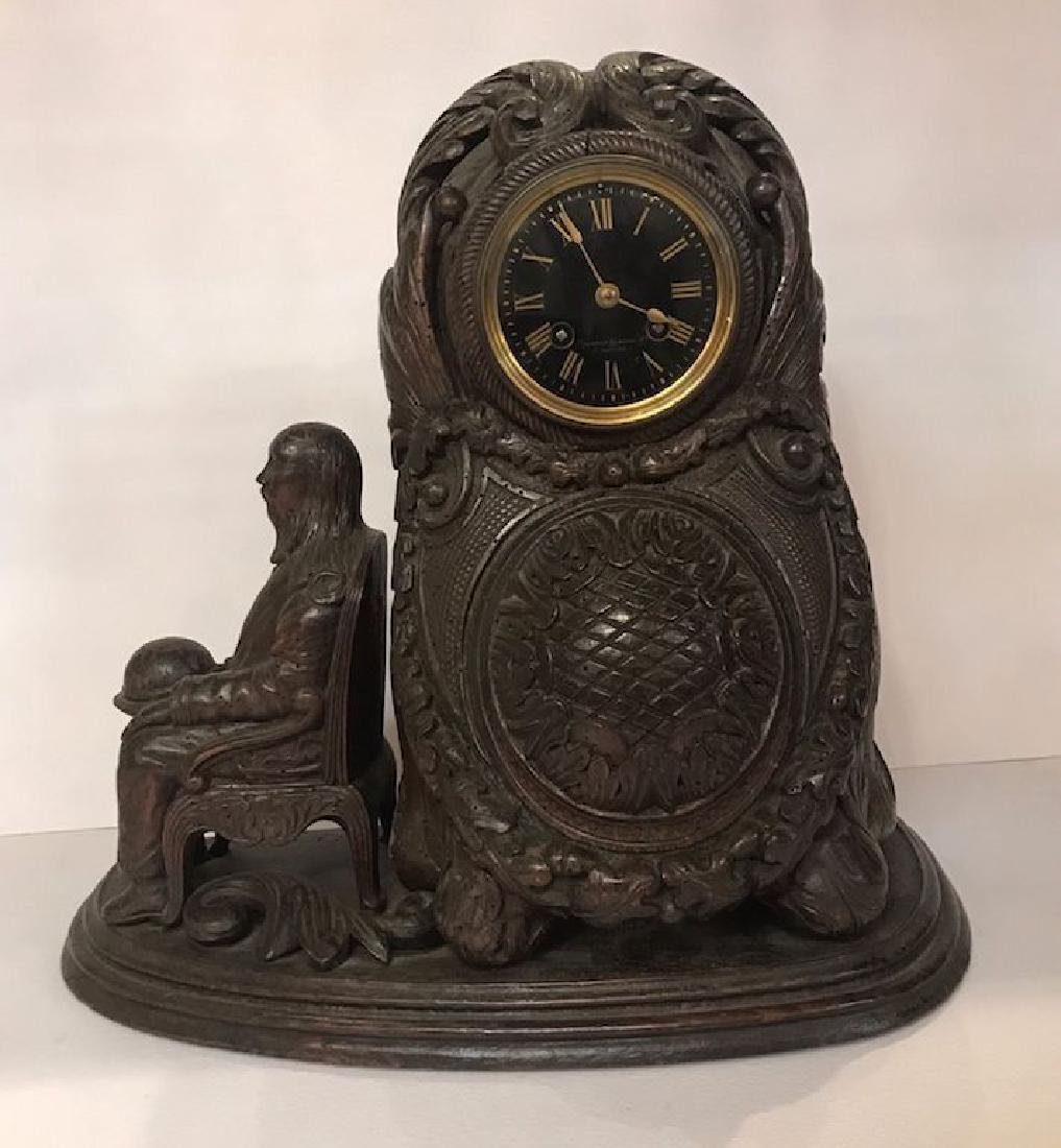 Antique Carved Wood Mantel Clock