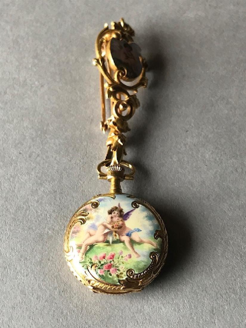 18K Gold & Enamel Swiss Pocket Watch